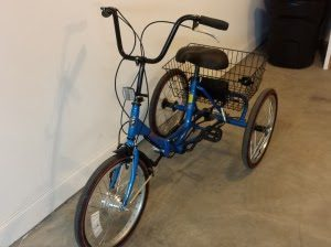 blue adult tricycle with an electric tricycle conversion