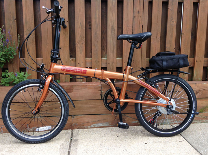 folding bicycle with a rear wheel electric bike conversion kit