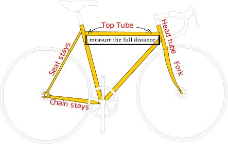 e-bike schematic with top tube labeled