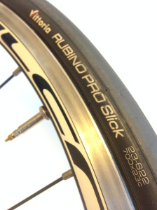 a close-up of the Rubino PRO Slick bike tire