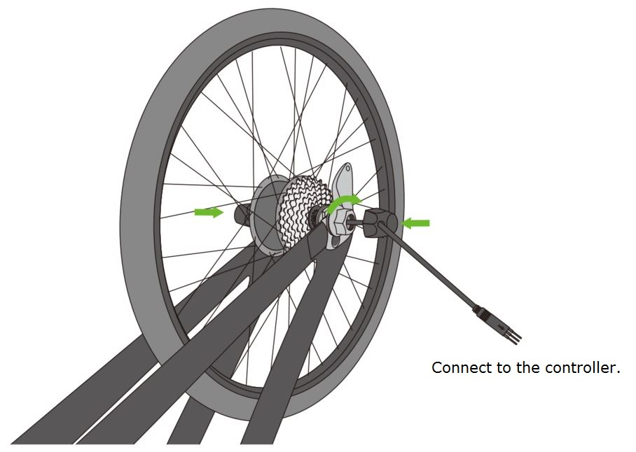 a diagram showing the electric bike motor cable placement