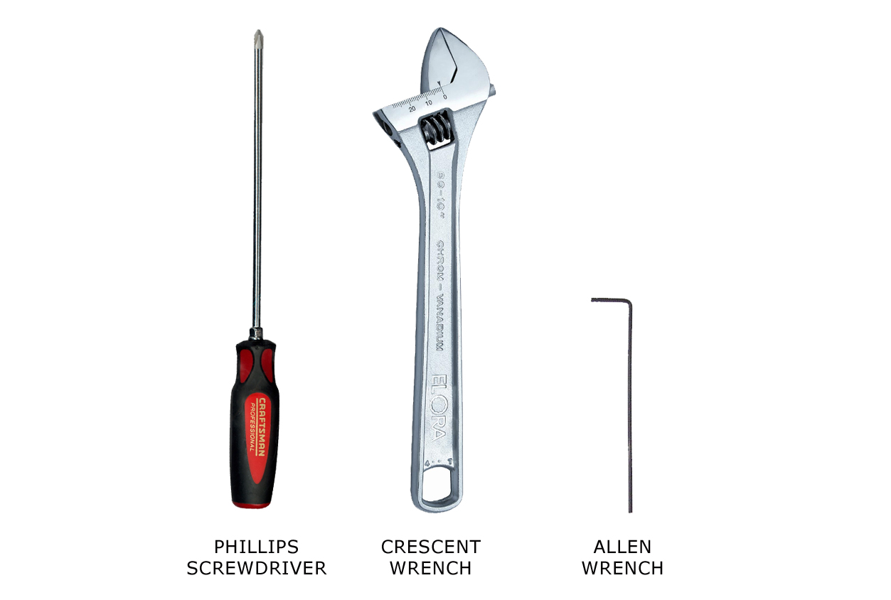 a Phillips screwdriver, crescent wrench, and Allen wrench