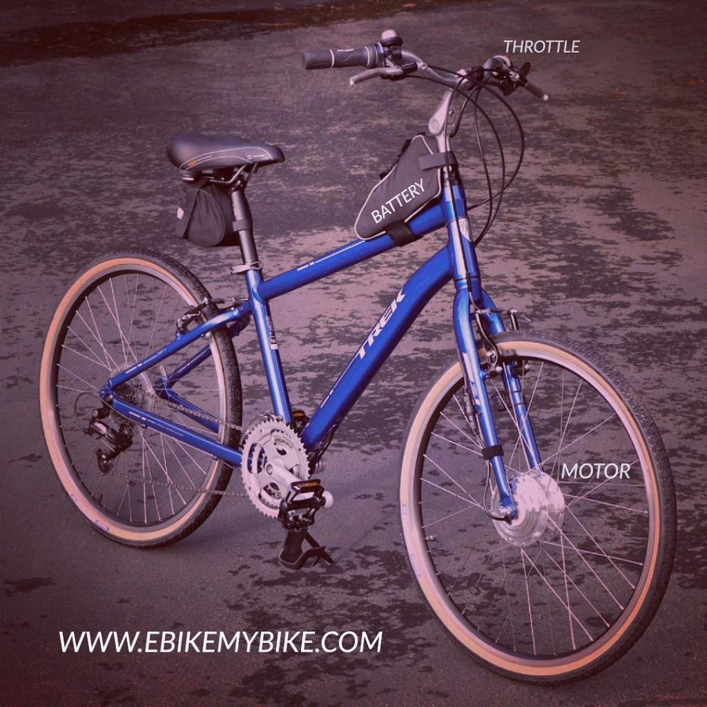 You get the idea. Your bike to e-bike. #ebike #electricbike #bicycle #bike #ebikemybile #ebikekit #commuter #commutebybike #diy