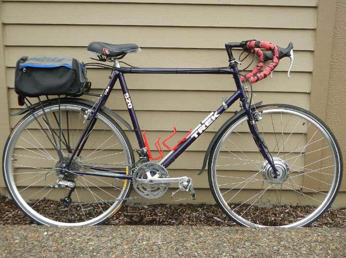a black and red Trek bike with bike mods