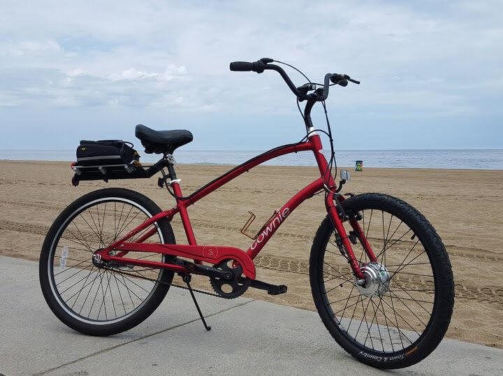a red e-bike on the Marvin Braude Bike Trail in California