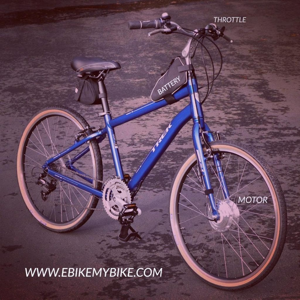 blue e-bike with motor, battery, and throttle labeled