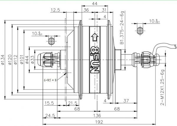 Leeds 250 Series Electric Bike Kit Rear Motor Dimensions