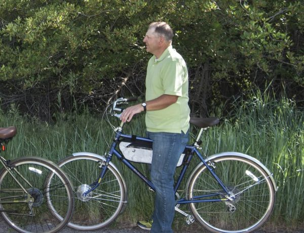 A man riding an ebike