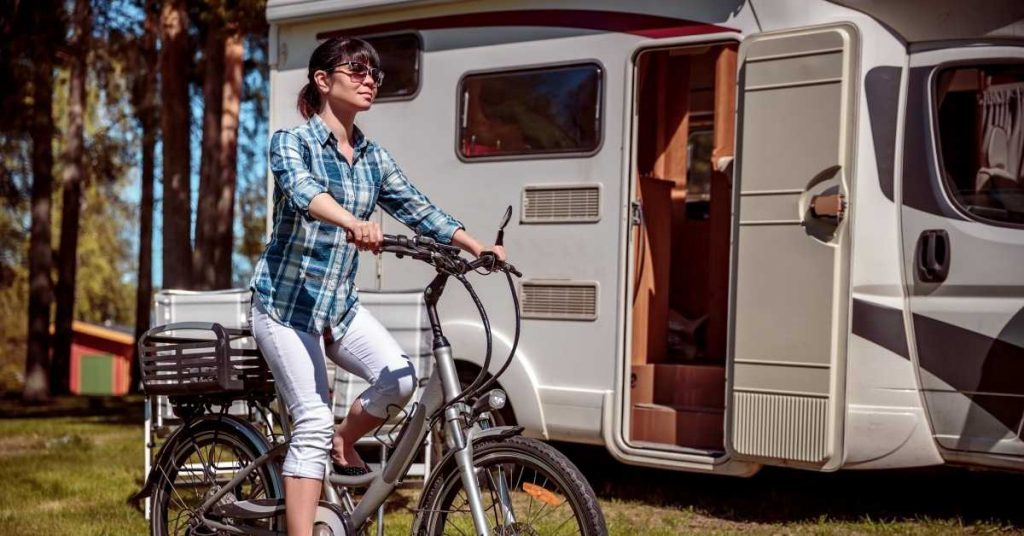 A girl rides on ebike