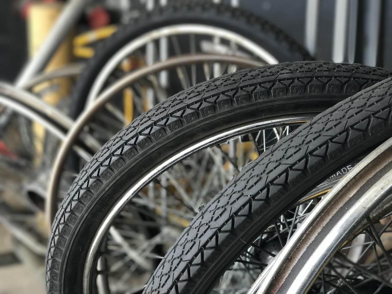 a close up of bike wheels and tires